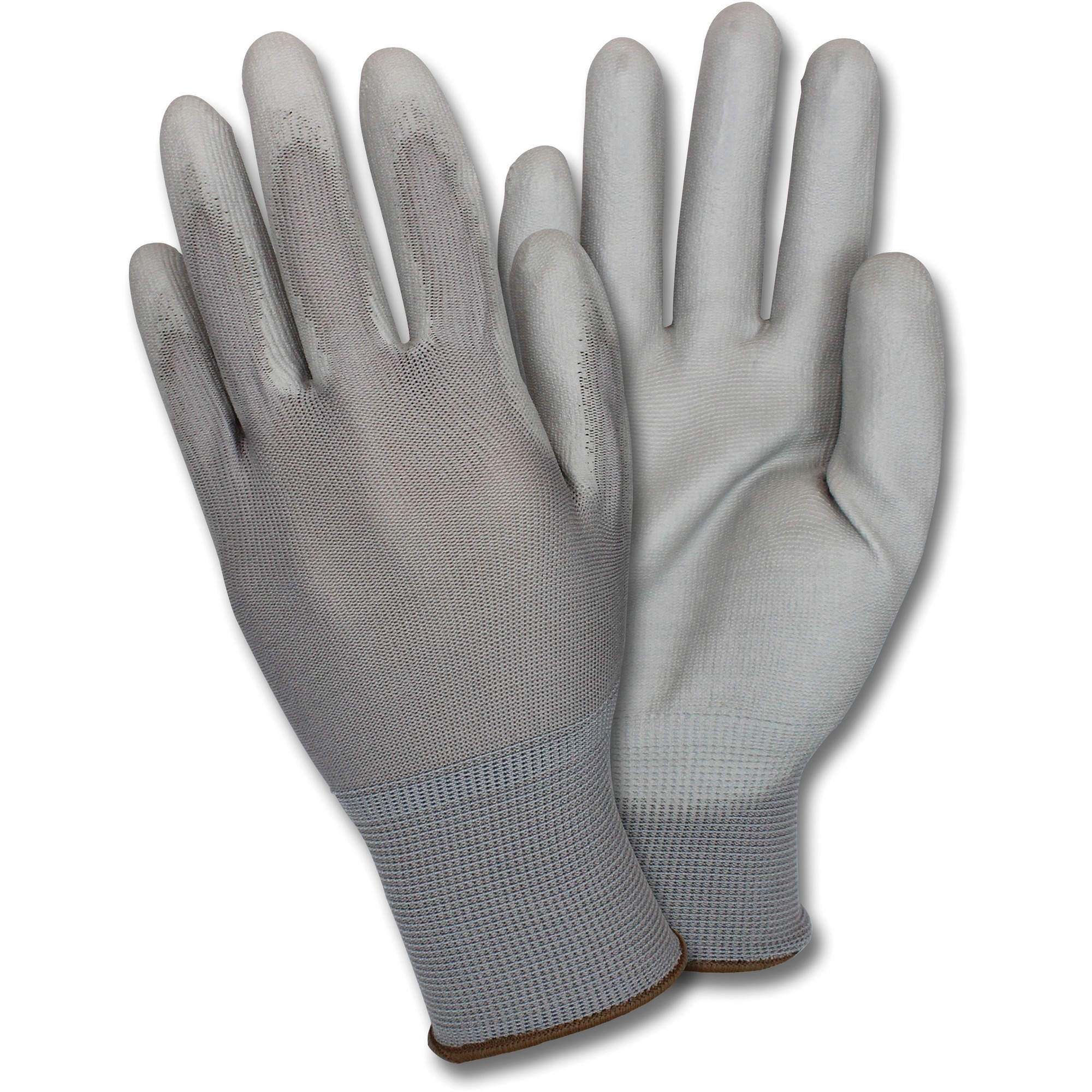 Safety Zone Poly Coated Knit Gloves - Polyurethane Coating - X-Large Size - Nylon - Gray - Flexible, Comfortable, Breathable, Lightweight, Knitted - For Industrial, Maintenance, Transportation, Warehouse, Construction, Assembling, Gardening - 12 / Dozen