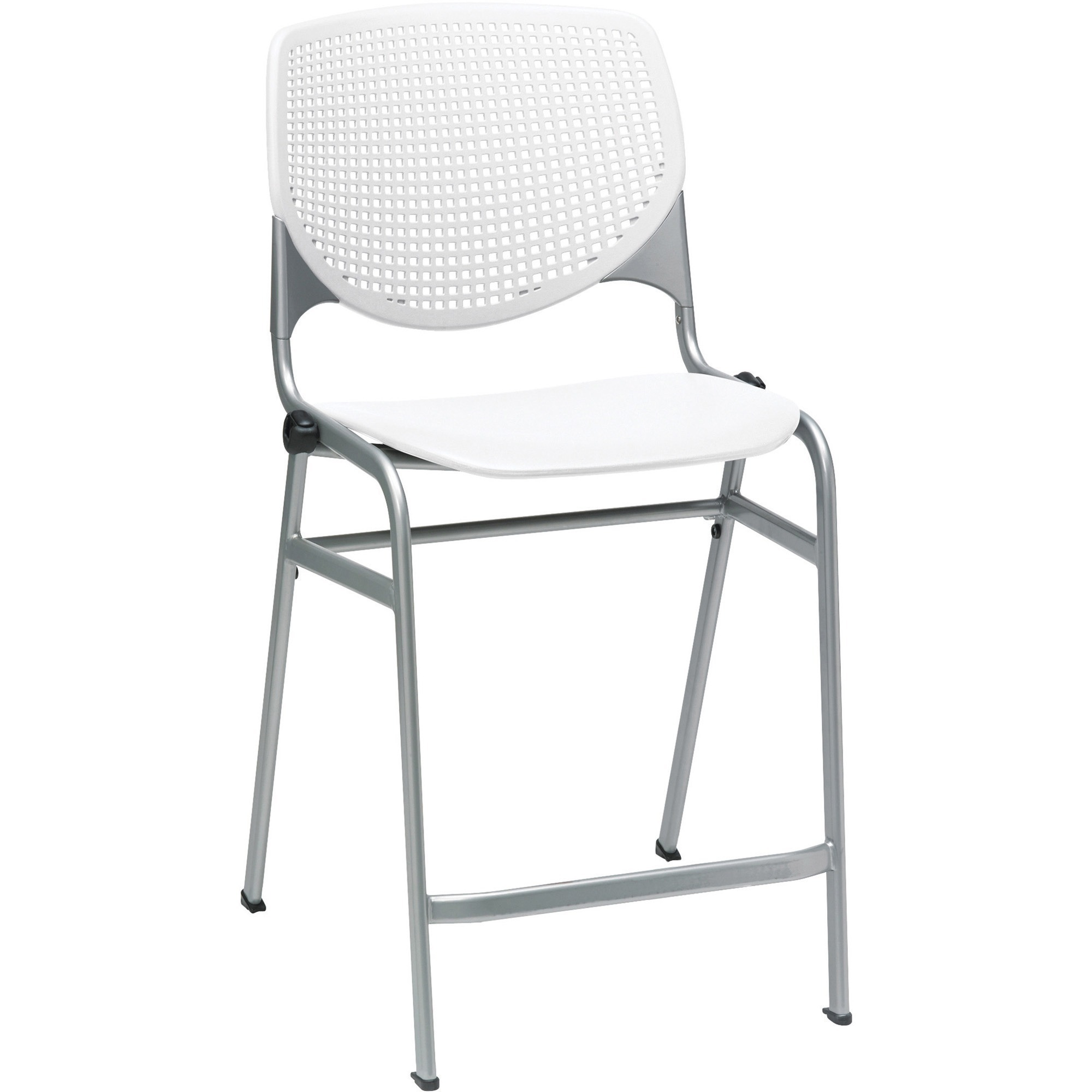 Astonishing Kfi Kool Counter Height Stackable Stool Polypropylene White Seat Polypropylene White Aluminum Alloy Back Cold Rolled Steel Powder Coated Silver Unemploymentrelief Wooden Chair Designs For Living Room Unemploymentrelieforg