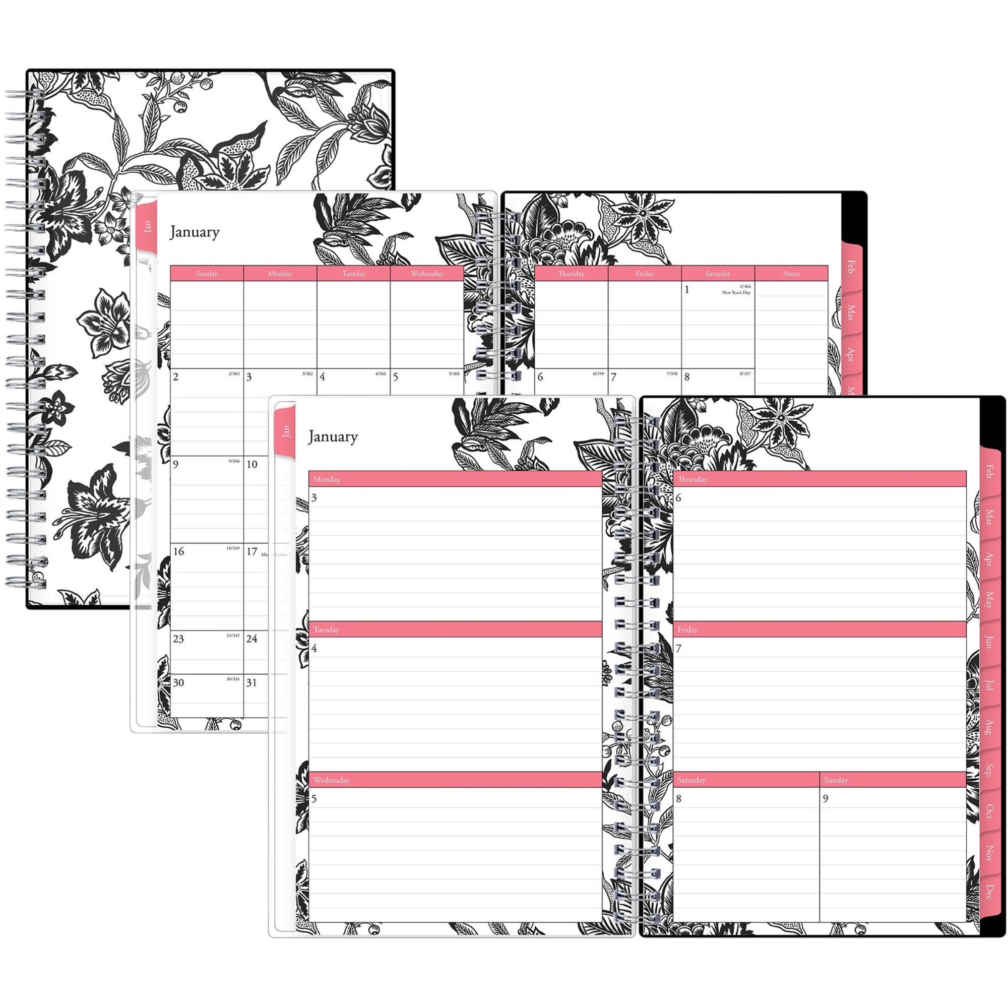 Blue Sky Barcelona Weekly/Monthly Planner - Julian - Weekly, Monthly - 1 Year - January till December - 1 Week Double Page Layout - Multicolor - Bleed Resistant, Double-sided, Storage Pocket, Reference Calendar