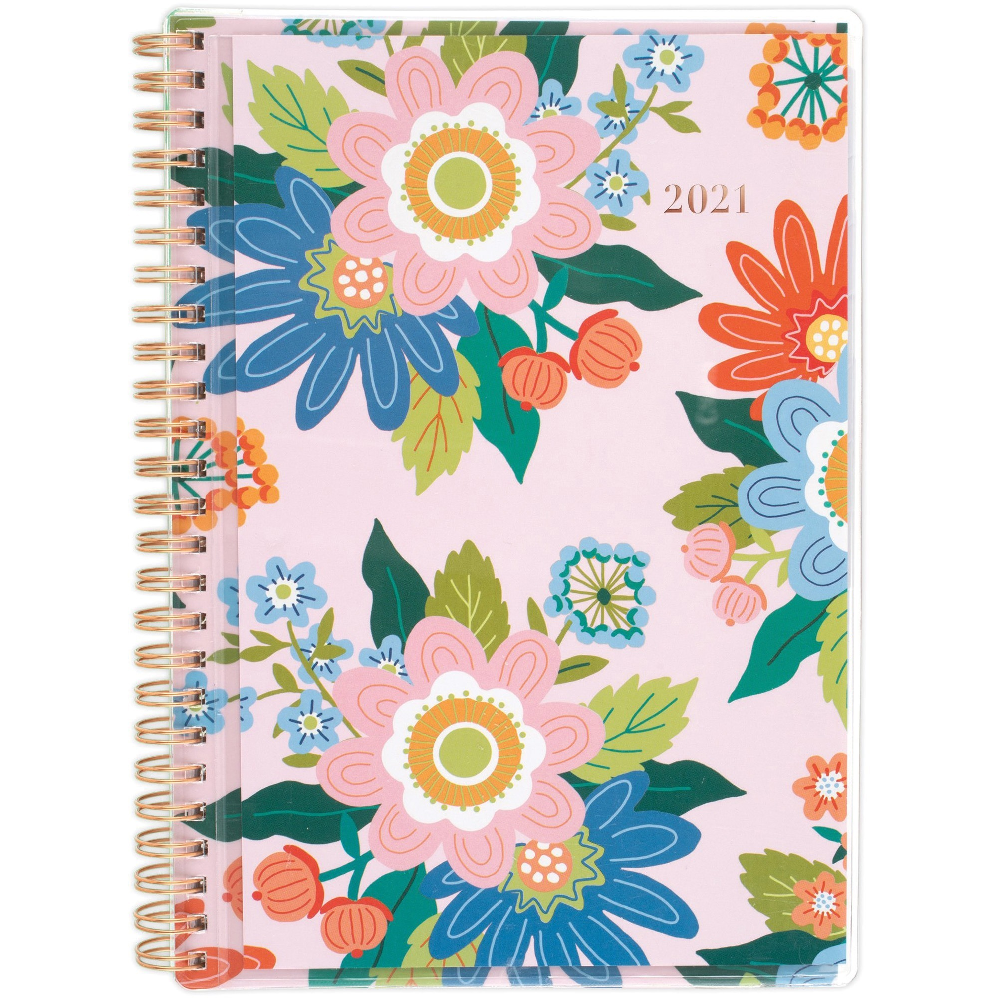 At-A-Glance Juliet Weekly Monthly Planner - Monthly, Weekly - 1 Year - January till December - 1 Week, 1 Month Double Page Layout - Twin Wire - Pink, Clear, Gold, Orange, Blue, Green - Vinyl, Poly - Reminder Section, Tabbed, Notes Area, Contact Sheet, Dur