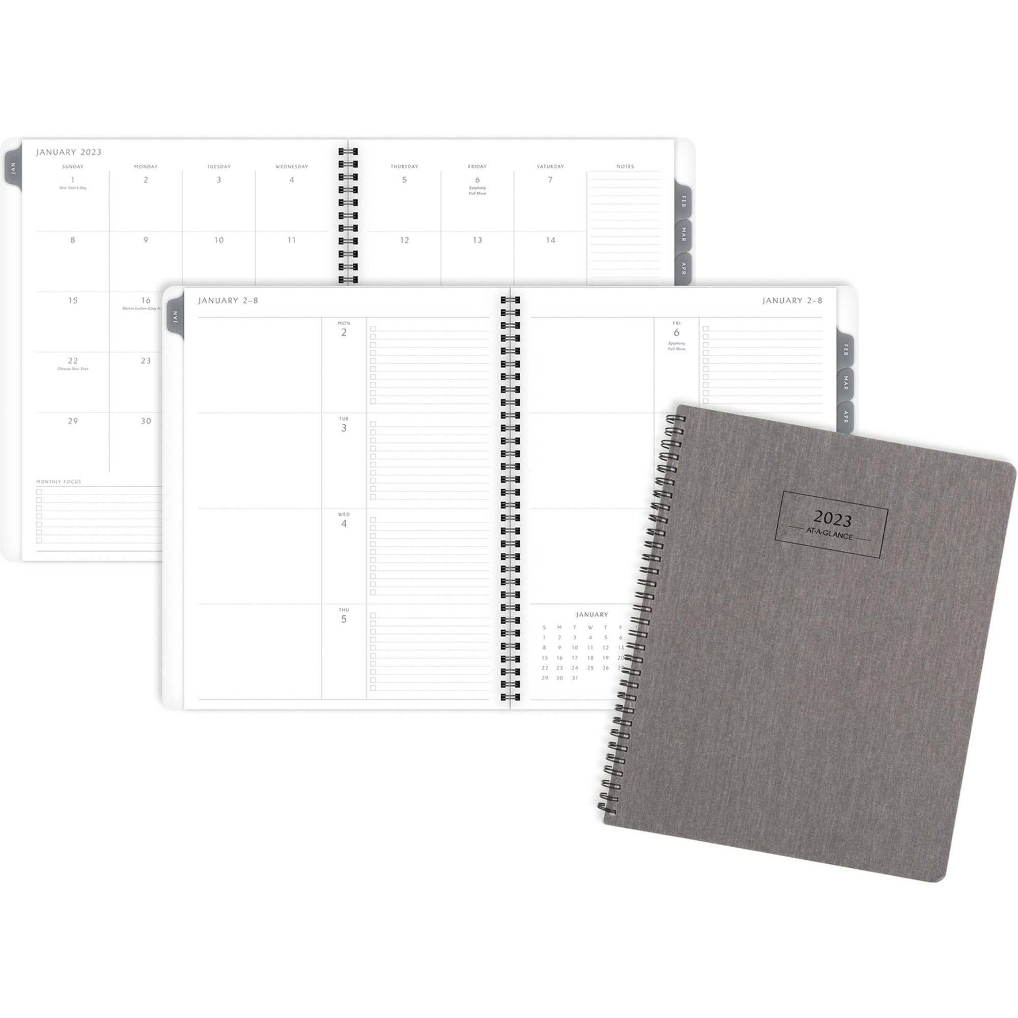 At-A-Glance Elevation Weekly/Monthly Planner - Medium Size - Monthly, Weekly - 1 Year - January 2021 till December 2021 - White Sheet - Twin Wire - Paper - Gray - Durable Cover, Sturdy, Bleed Resistant Paper, Tear Resistant, Non-refillable, Reminder Secti