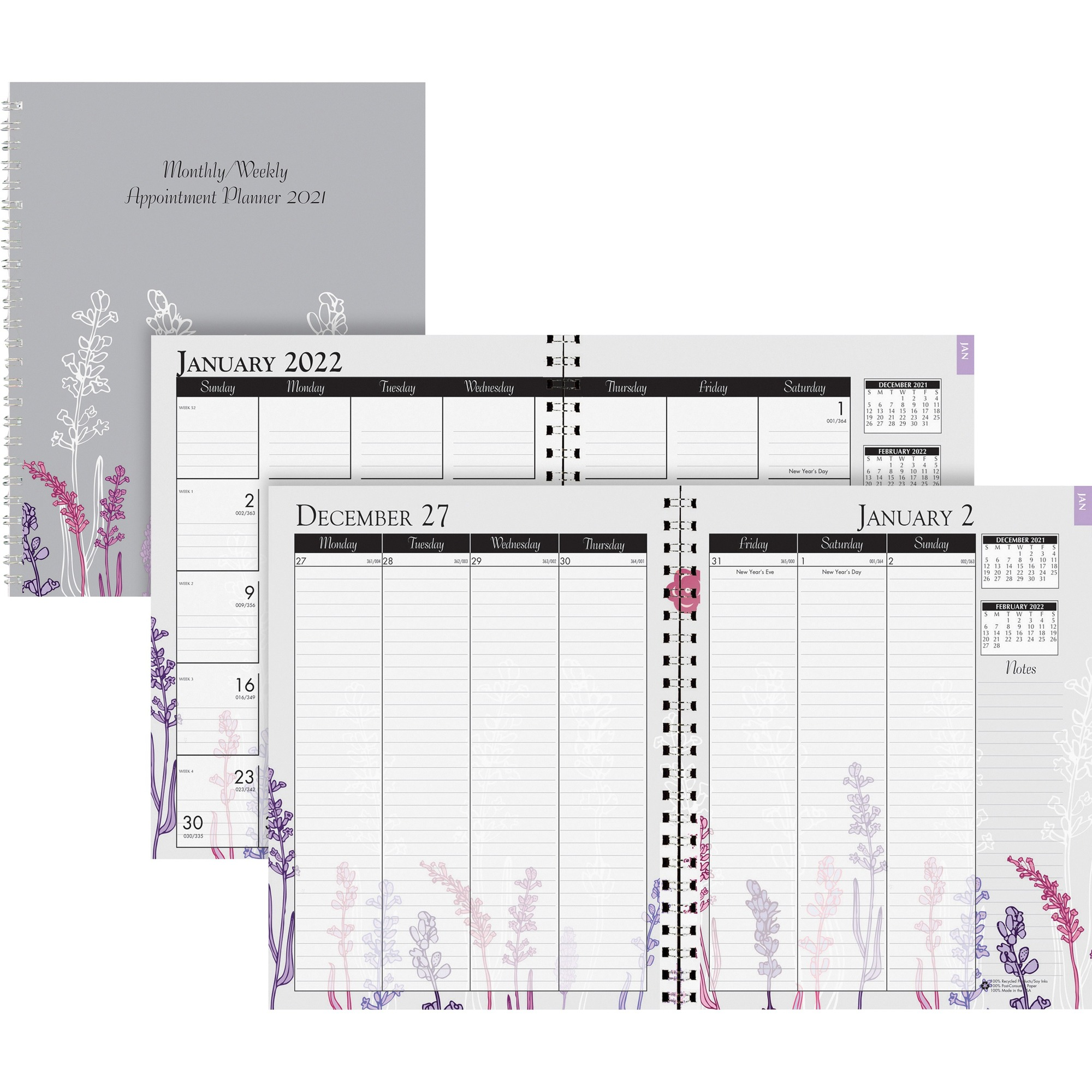 House of Doolittle Wild Flower Weekly/Monthly Planner - Julian Dates - Monthly, Weekly - 1 Year - January till December - 1 Week, 1 Month Double Page Layout - Spiral Bound - Multi, Silver - Paper - 9