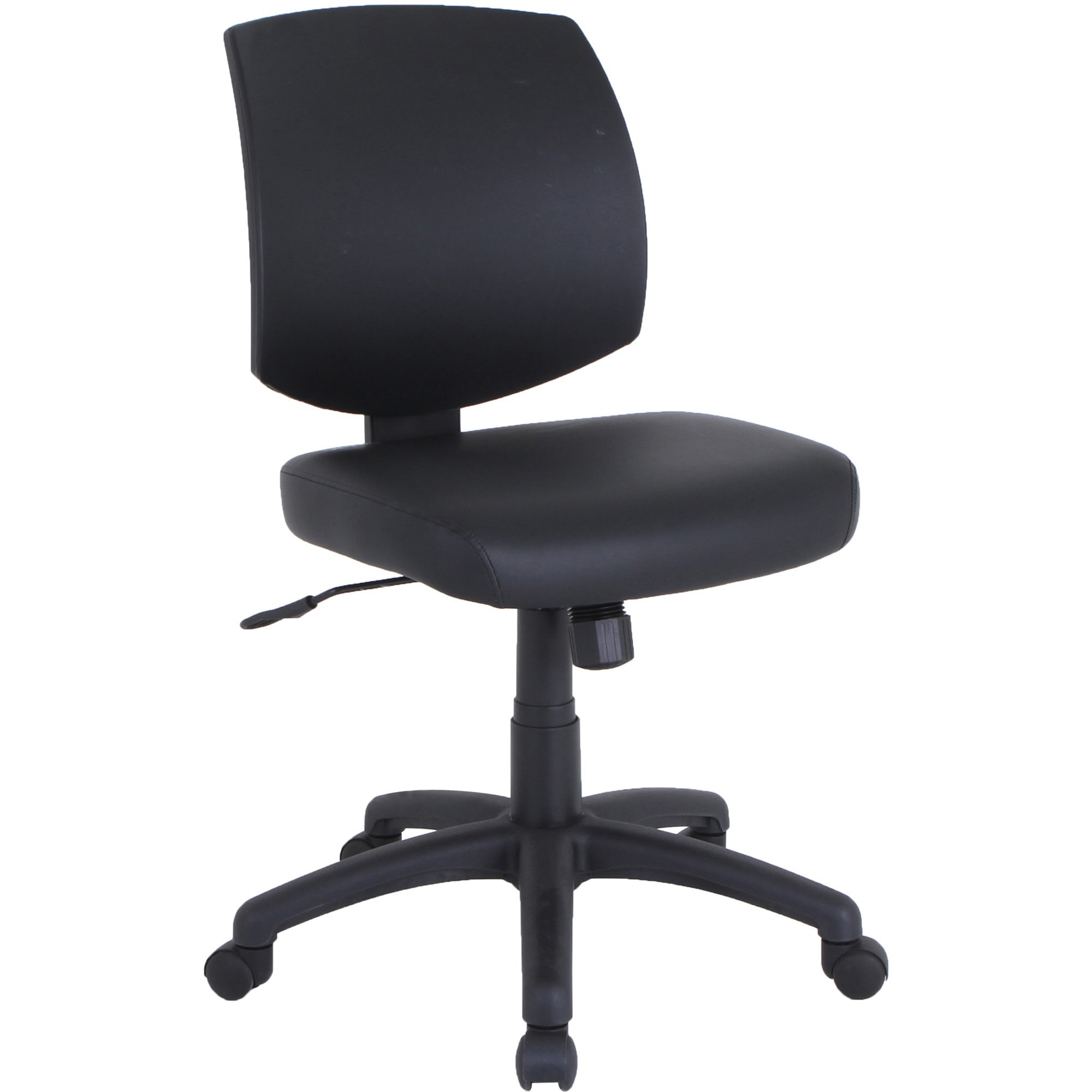 Lorell PVC UpholsteryTask Chair - Polyvinyl Chloride (PVC) Seat - Polyvinyl Chloride (PVC) Back - 5-star Base - Black - 18.88