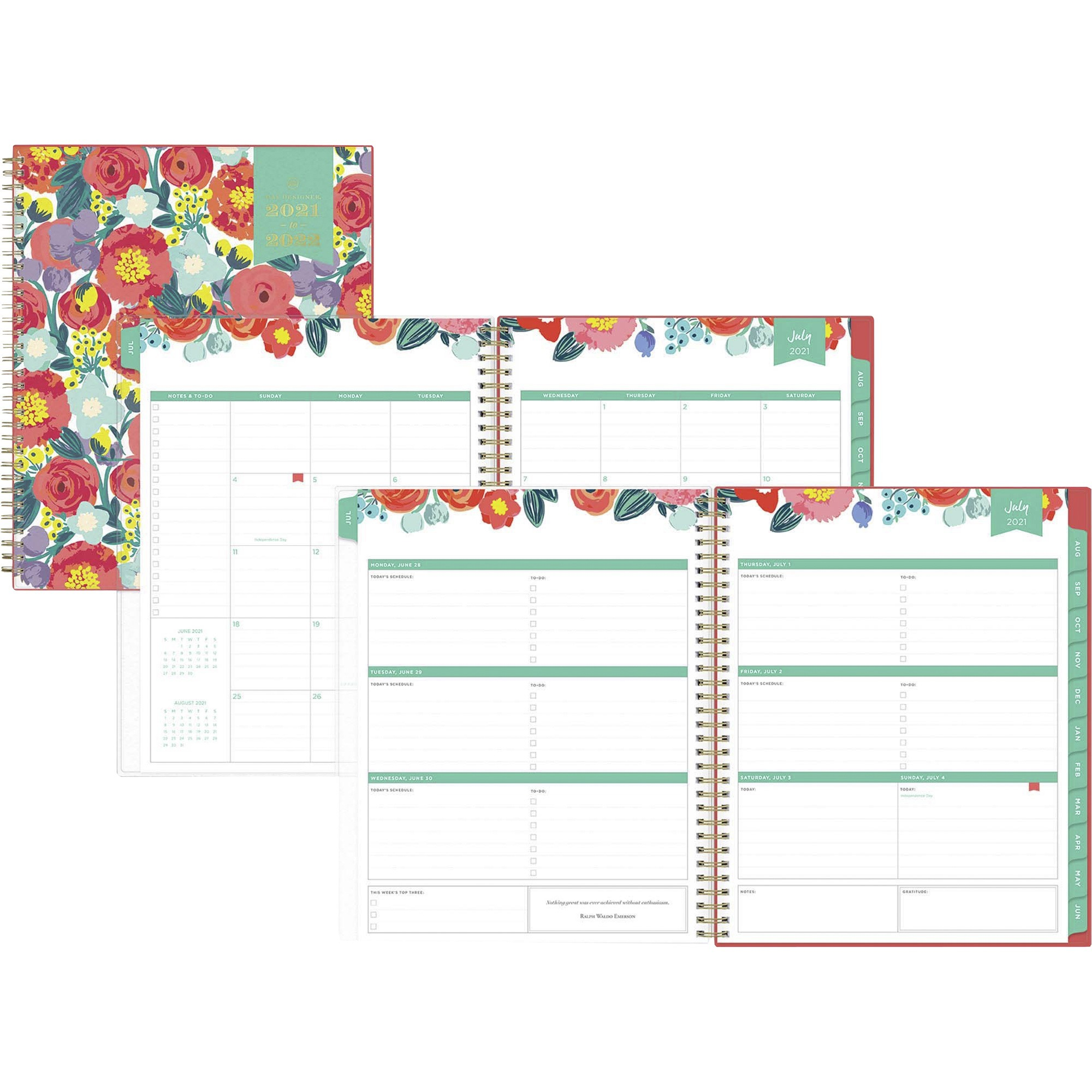 Day Designer Academic Planner - Academic - Monthly, Weekly - 1 Year - July 2021 till June 2022 - 1 Week, 1 Month Double Page Layout - White Sheet - Wire Bound - Multi - Paper - 8.5