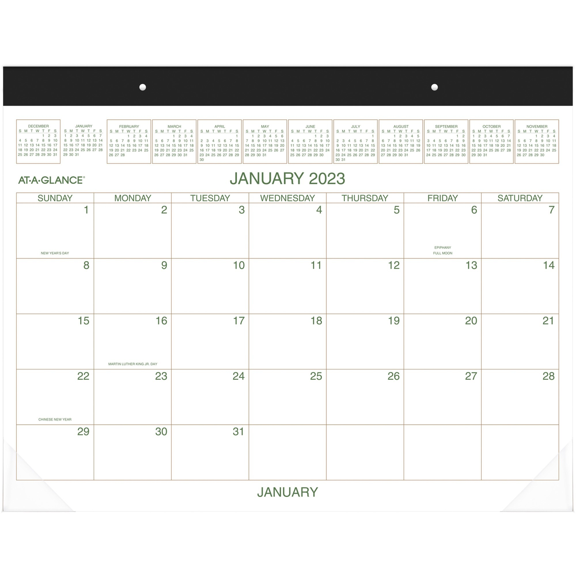 At-A-Glance Two-Color Monthly Desk Pad - Yes - Monthly - 1 Year - January 2020 till December 2020 - 1 Month Single Page Layout - 22