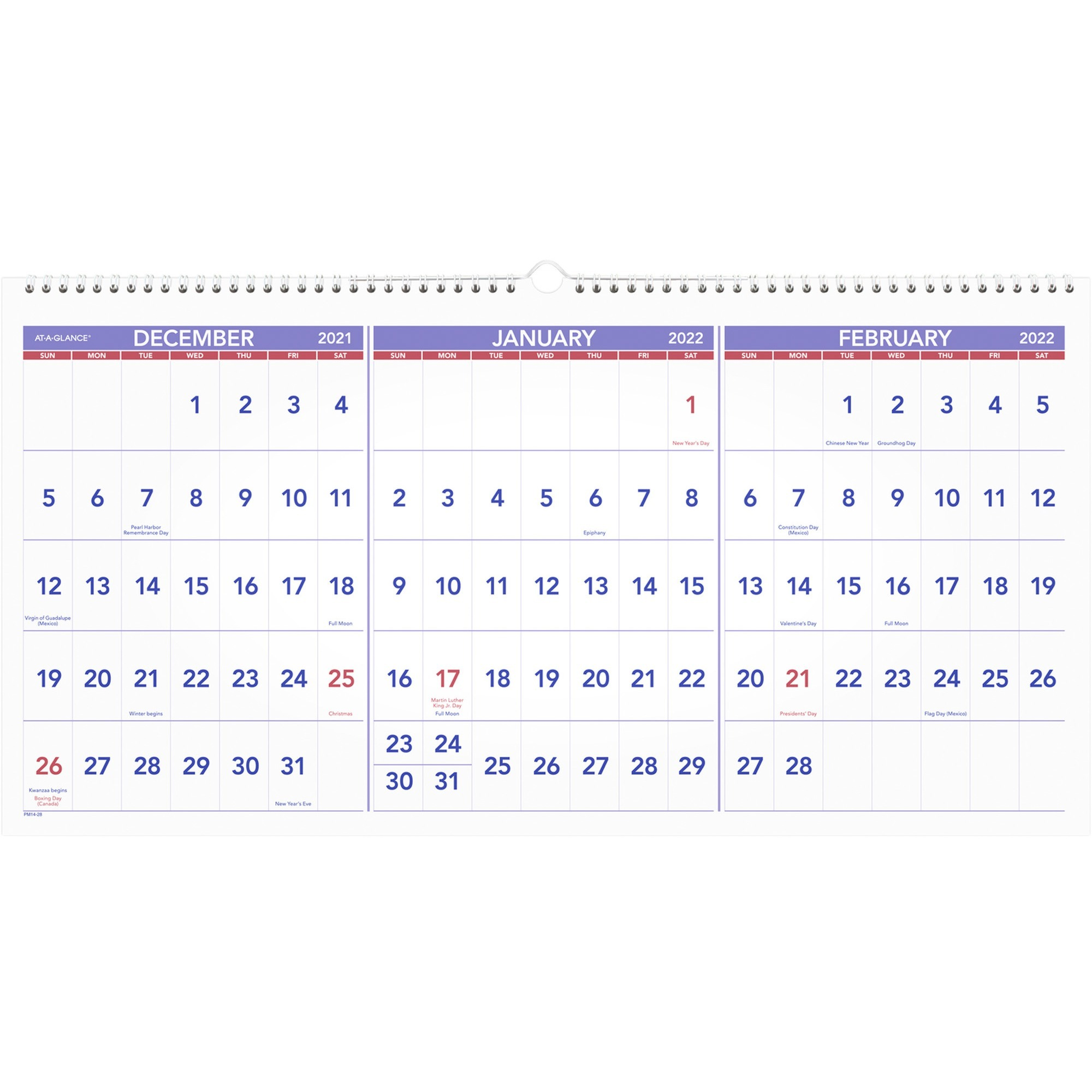 Product Aagpm1428 At A Glance 3 Month Horizontal Wall Calendar