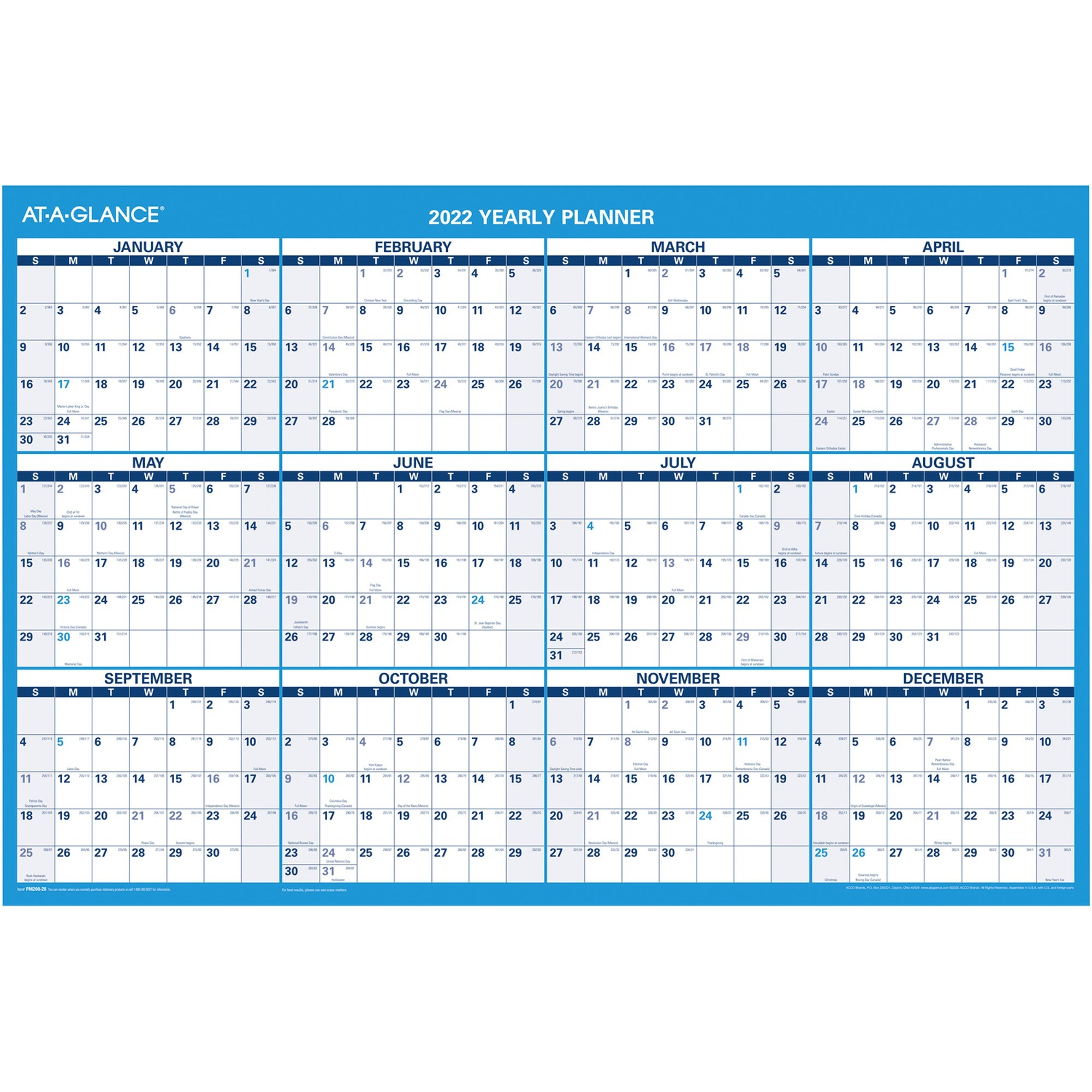 At-A-Glance Erasable Yearly Wall Planner - Yearly - 1 Year - January 2020 till December 2020 - 36