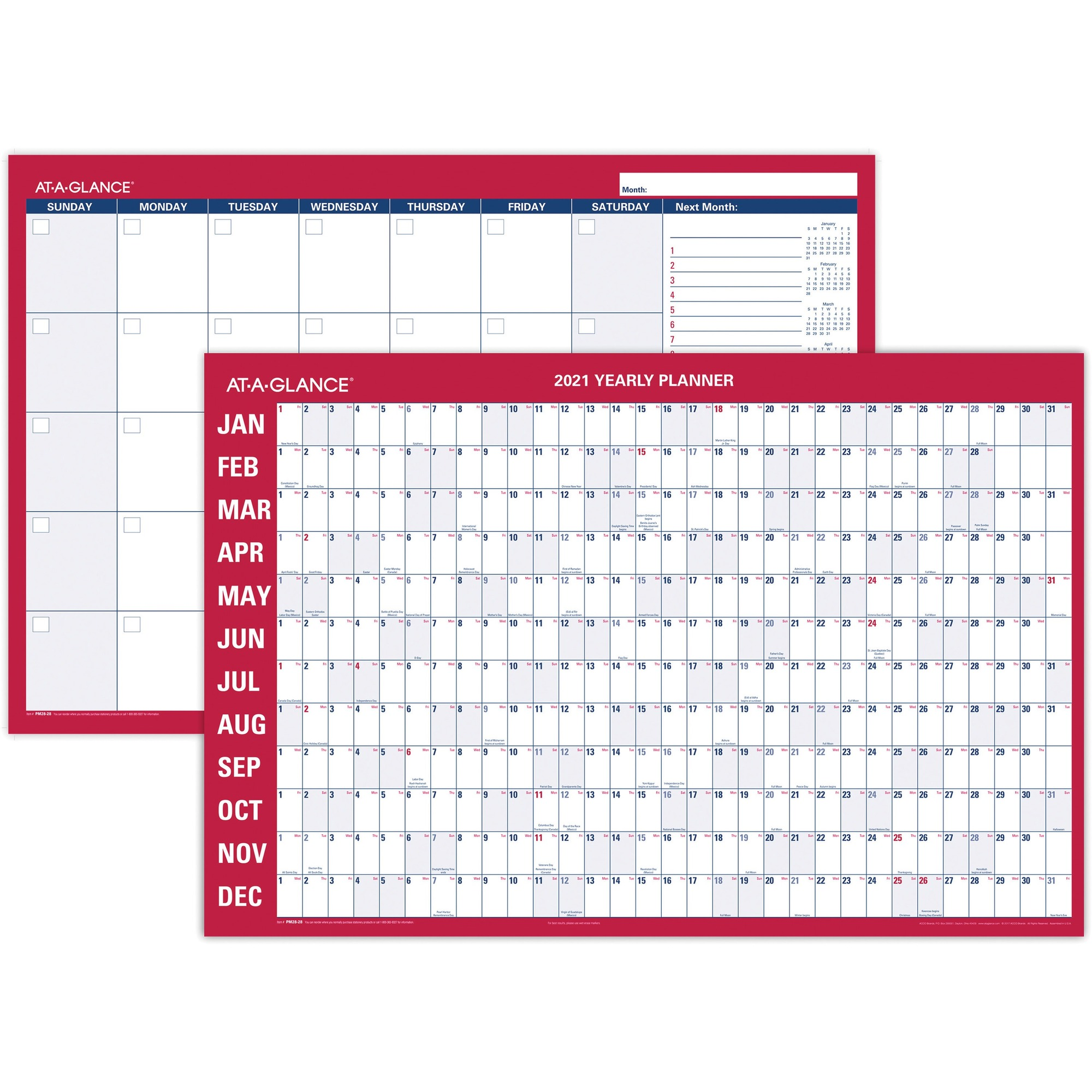 At-A-Glance Erasable/Reversible Yearly Wall Planner - Yearly - 1 Year - January 2020 till December 2020 - 36