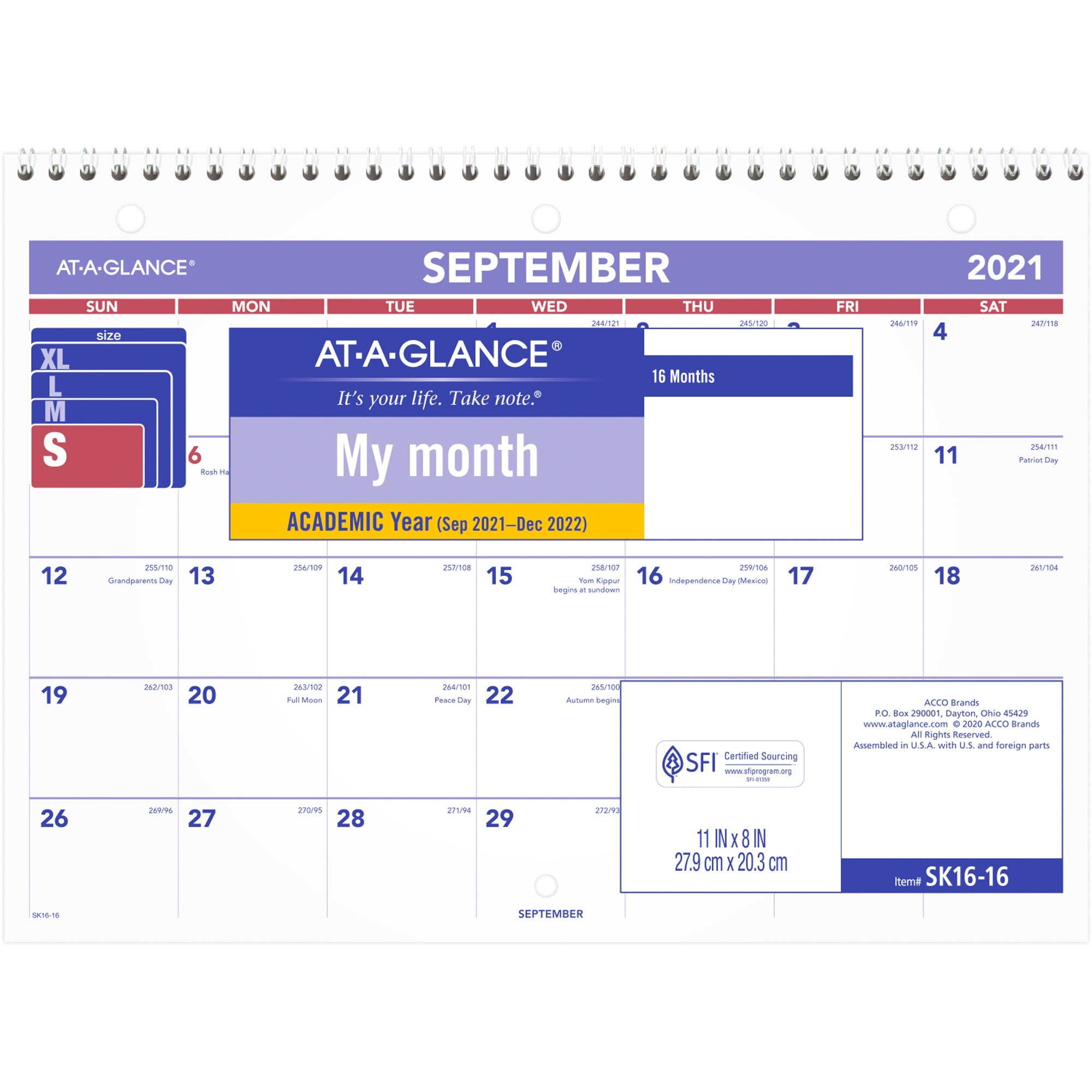 At-A-Glance Academic Monthly Wall Calendar - Yes - Monthly - 1.3 Year - September 2019 till December 2020 - 1 Month Double Page Layout - 8