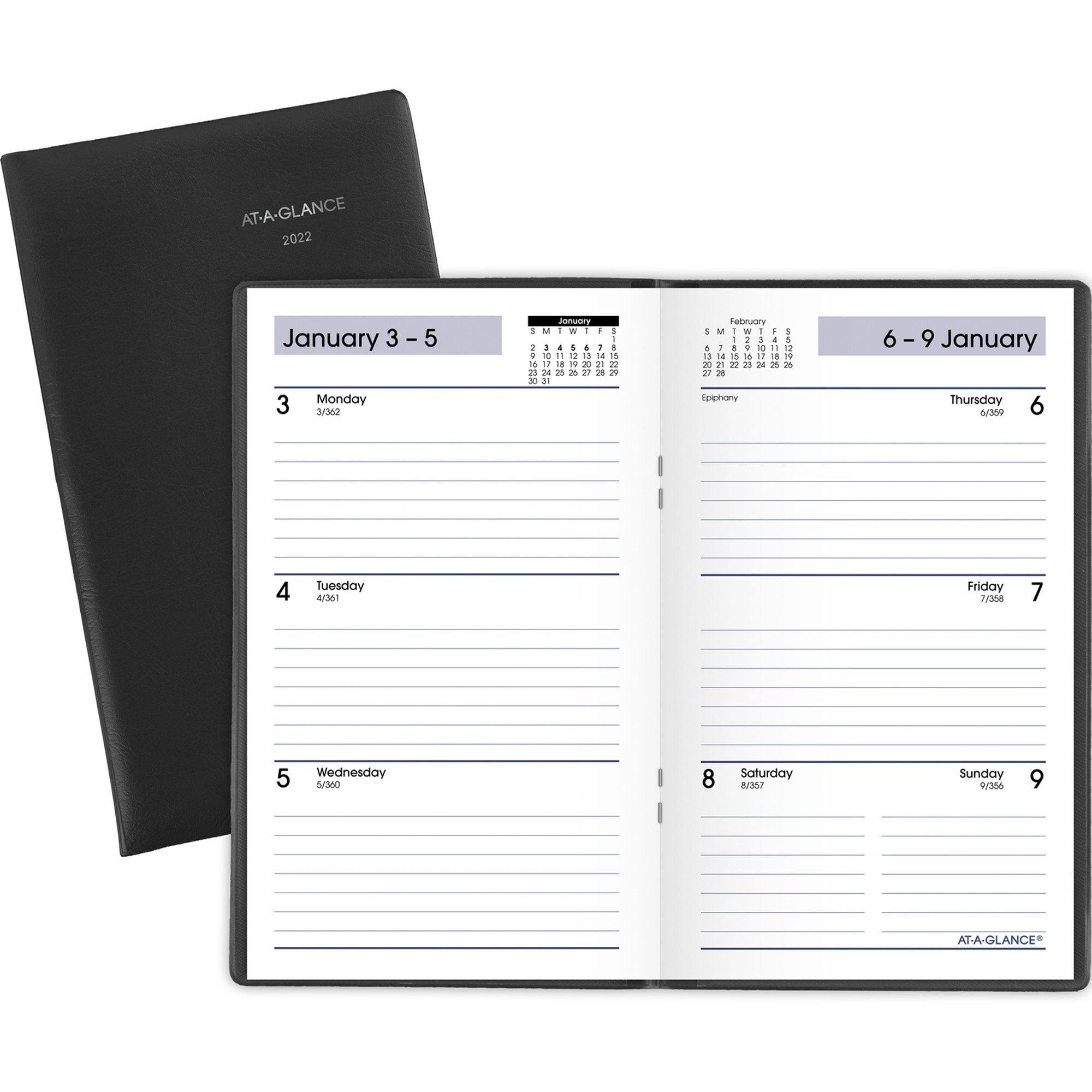 At-A-Glance DayMinder Weekly Pocket Planner - Yes - Weekly - 1 Year - January 2020 till December 2020 - 1 Week Double Page Layout - 3 1/2