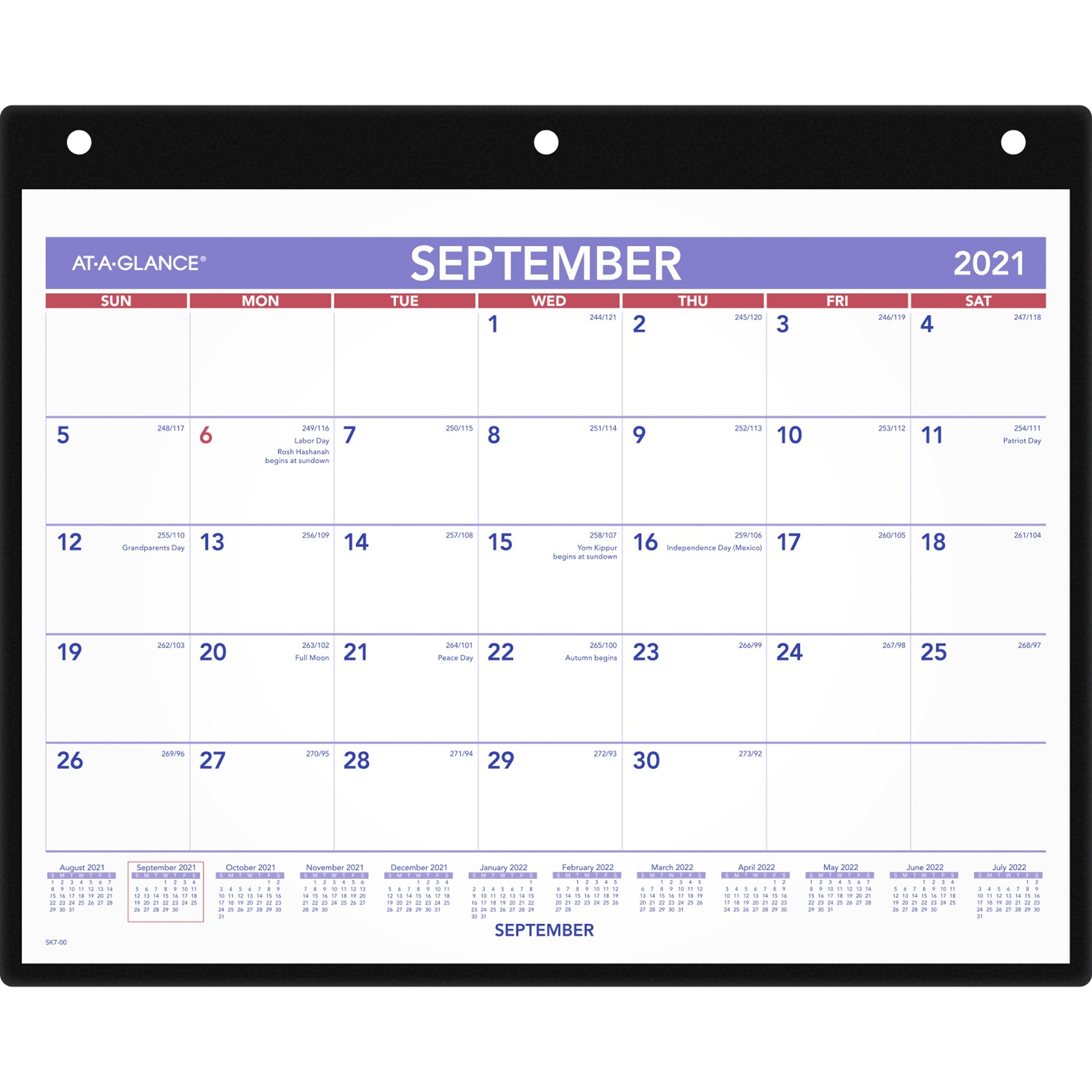At-A-Glance Academic Monthly Desk/Wall Calendar with Poly Holder - Yes - Monthly - September 2019 till December 2020 - 1 Month Single Page Layout - 11