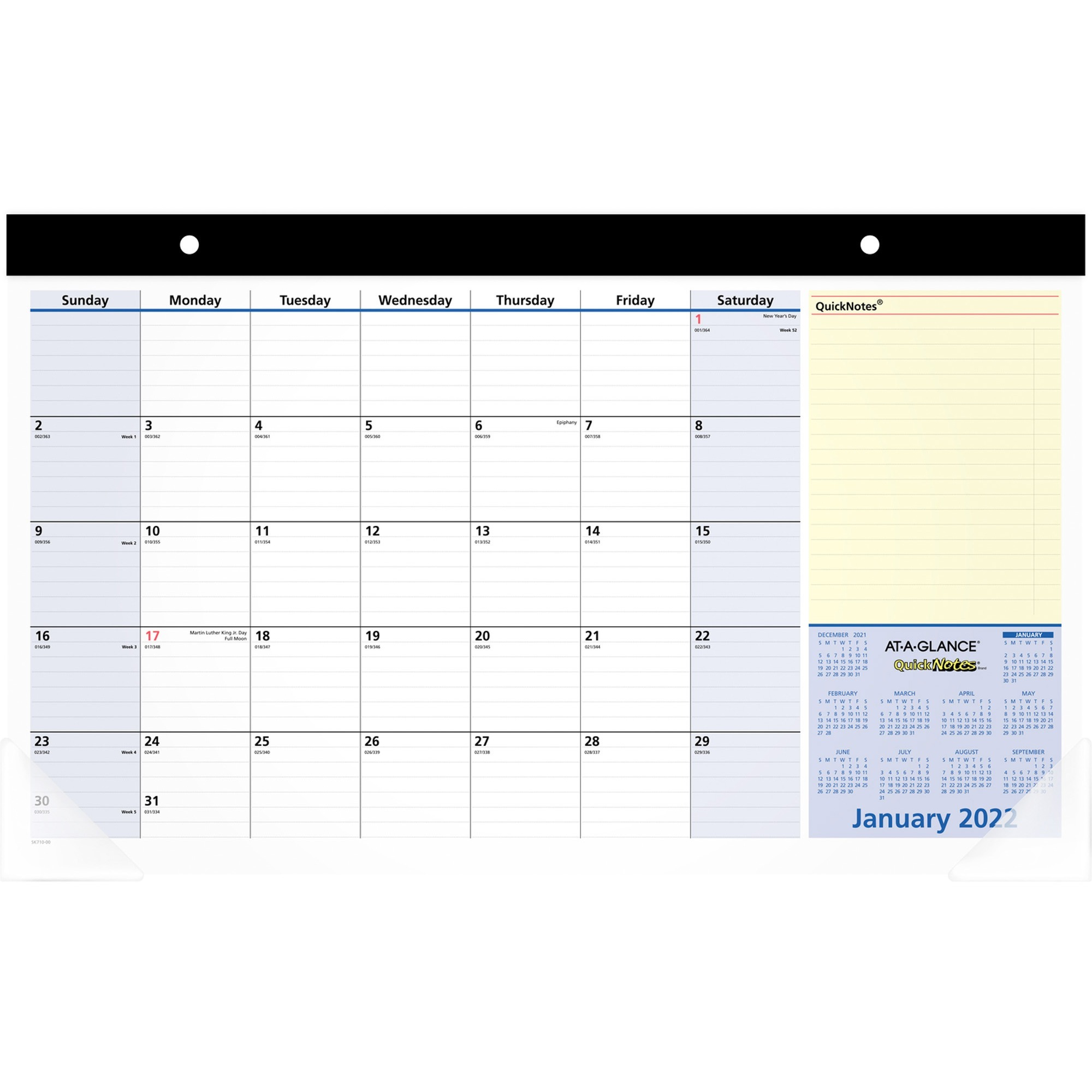 At-A-Glance QuickNotes Monthly Desk Pad - Yes - Monthly - 1.1 Year - January 2020 till January 2021 - 1 Month Single Page Layout - 17 3/4