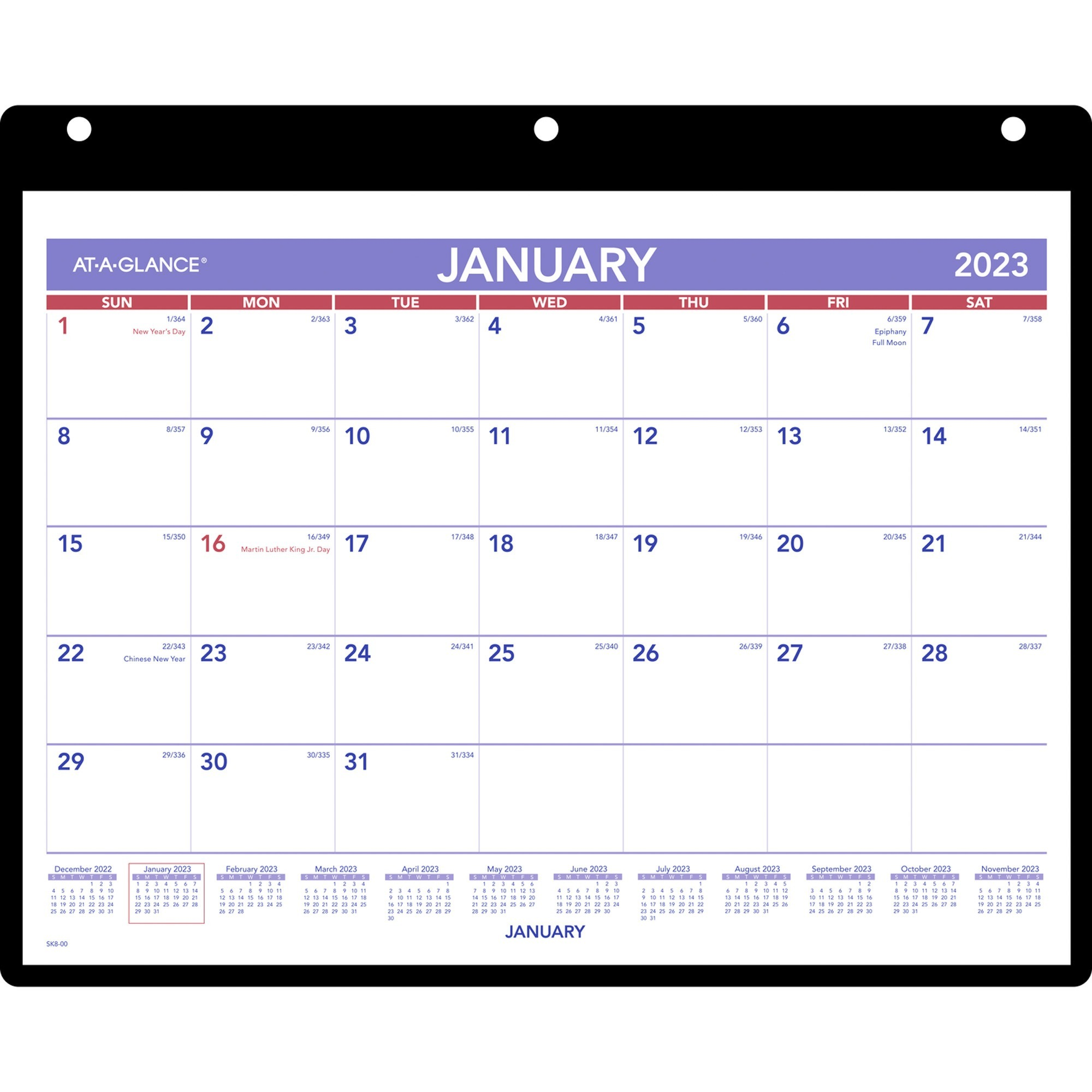 Aagsk800 At A Glance Monthly Desk Wall Calendar With Poly