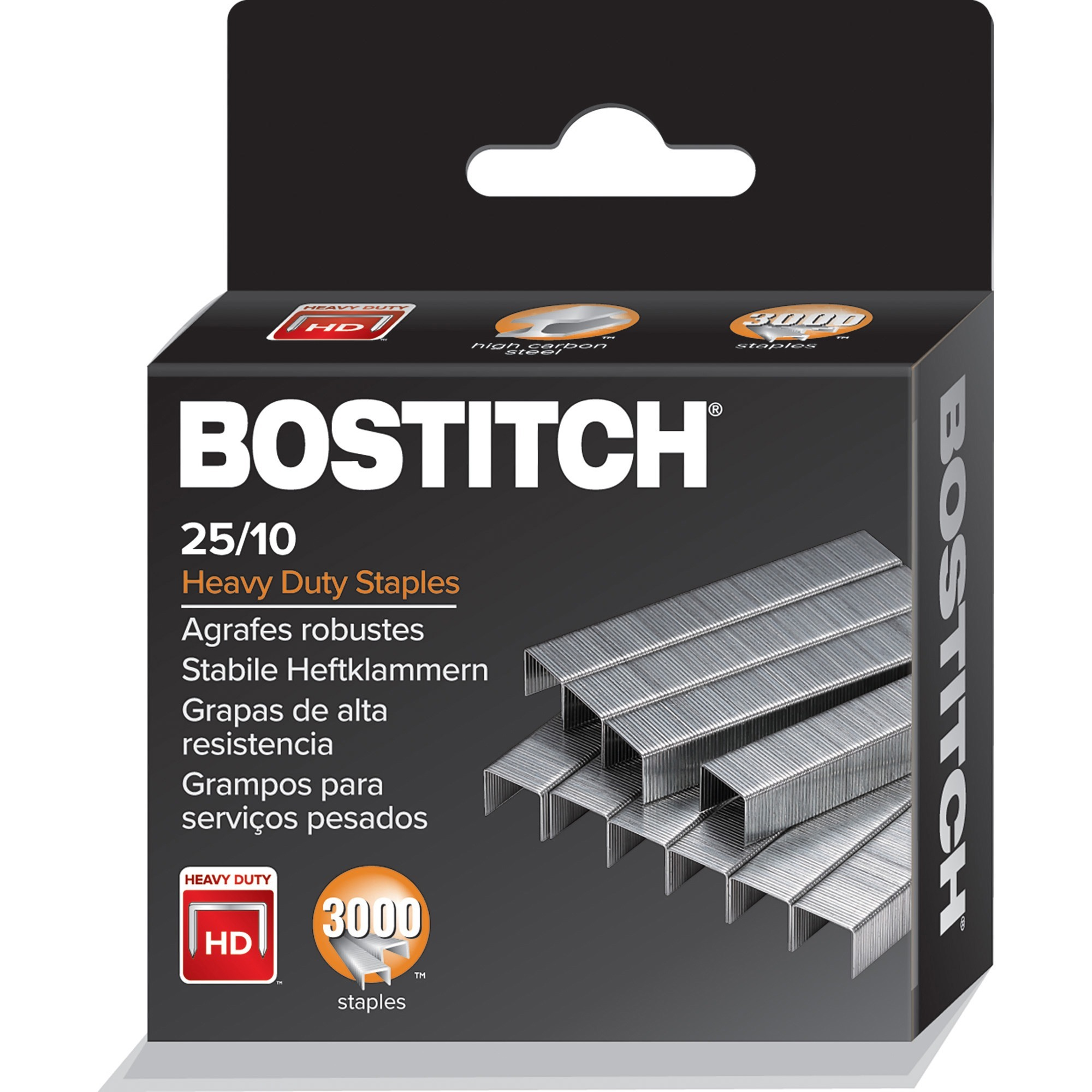 Bostitch Heavy-Duty Staples - 125 Per Strip - High Capacity - 3/8 Leg - 1/2  Crown - Holds 65 Sheet(s) - Silver - 3000 / Box