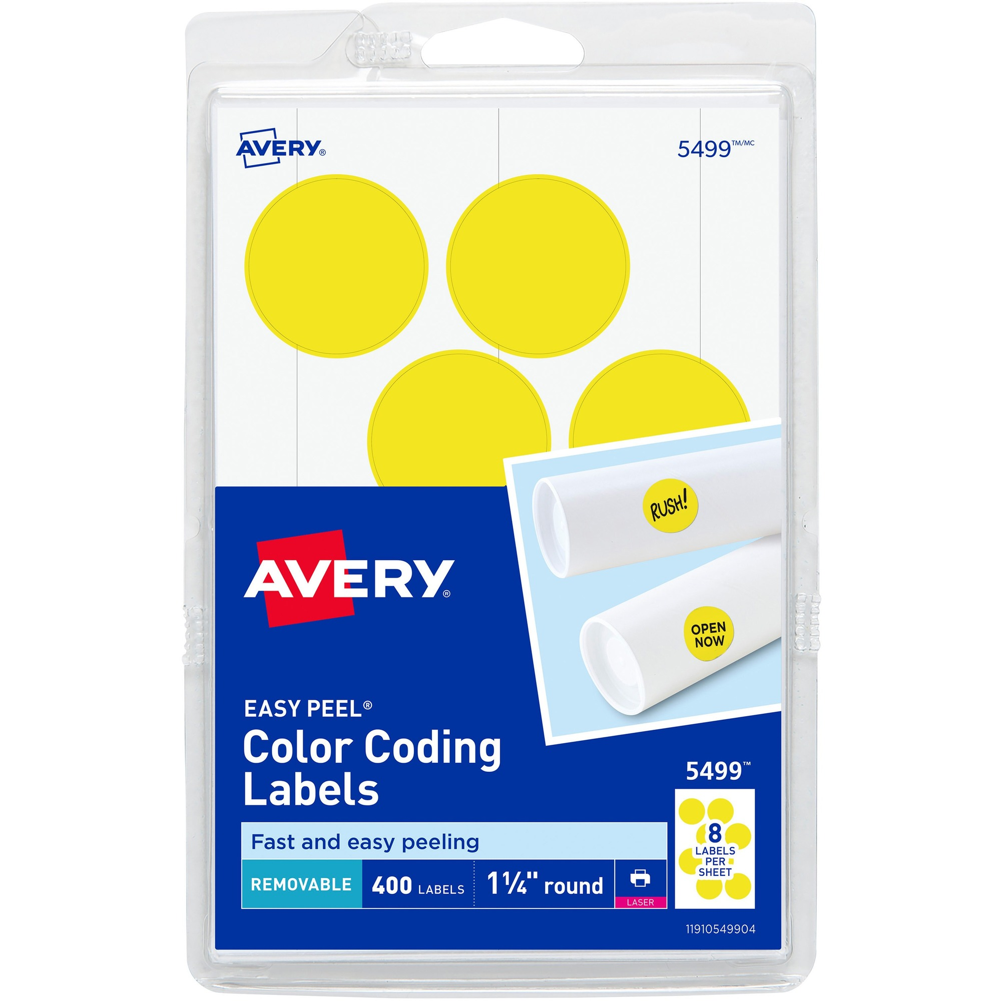 Avery® 1-1/4 Round Color Coding Labels - Removable Adhesive - 1 1/4  Diameter - Circle - Laser - Neon Yellow - 12 / Sheet - 400 / Pack
