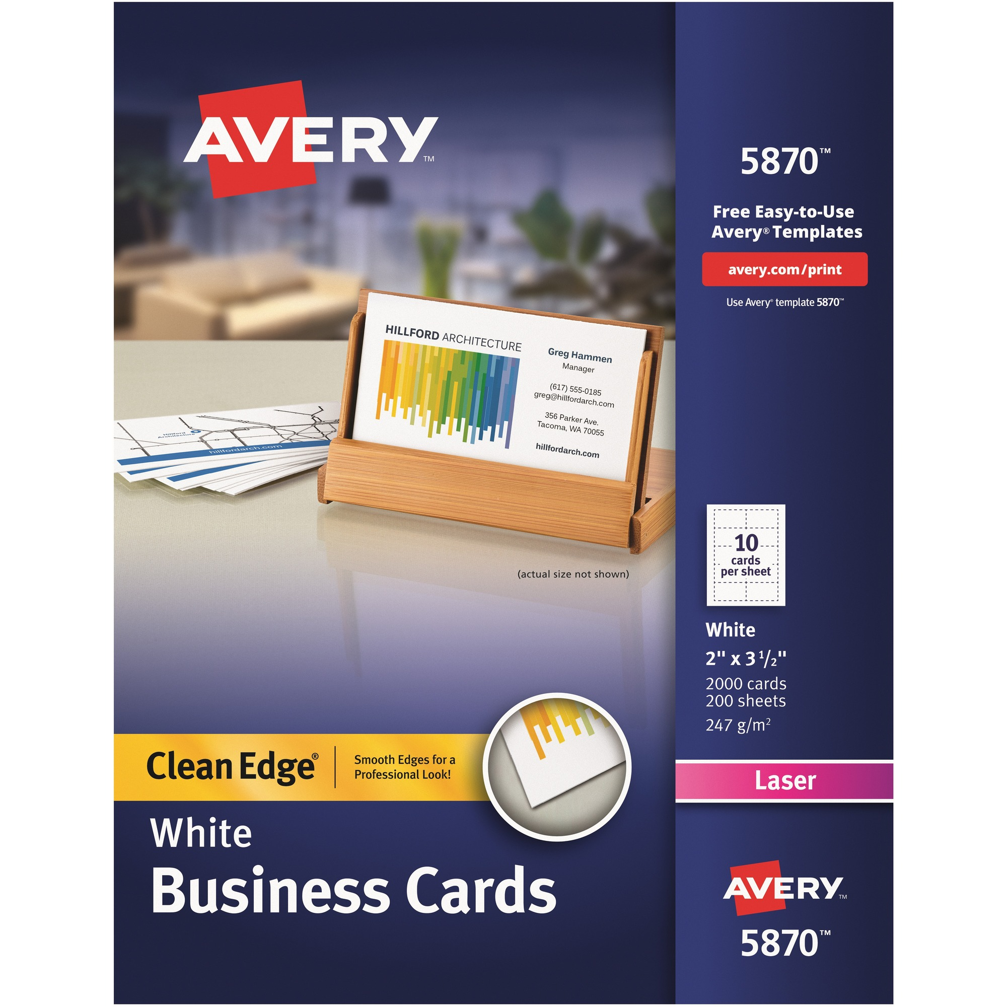 Ave5870 Avery Reg Clean Edge Laser Print Business Card Office
