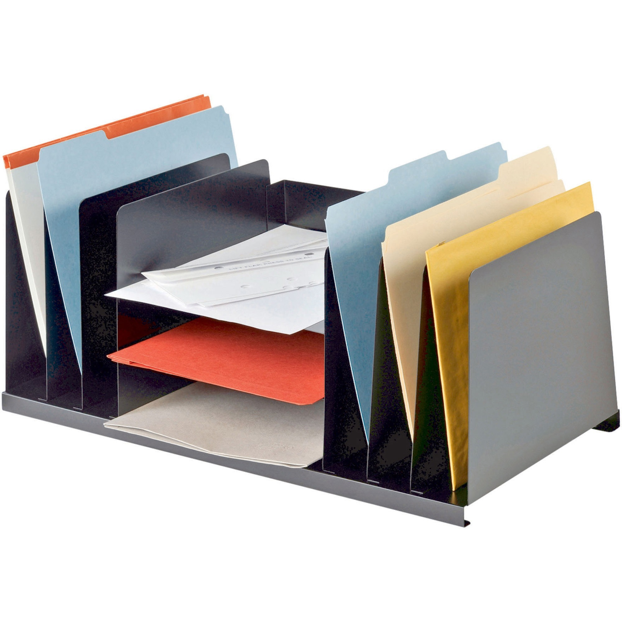 Mmf Letter Size Desk Organizer 9 Compartment S 8 Height X 21 5 Width 11 Depth Desktop Recycled Black Steel 1each