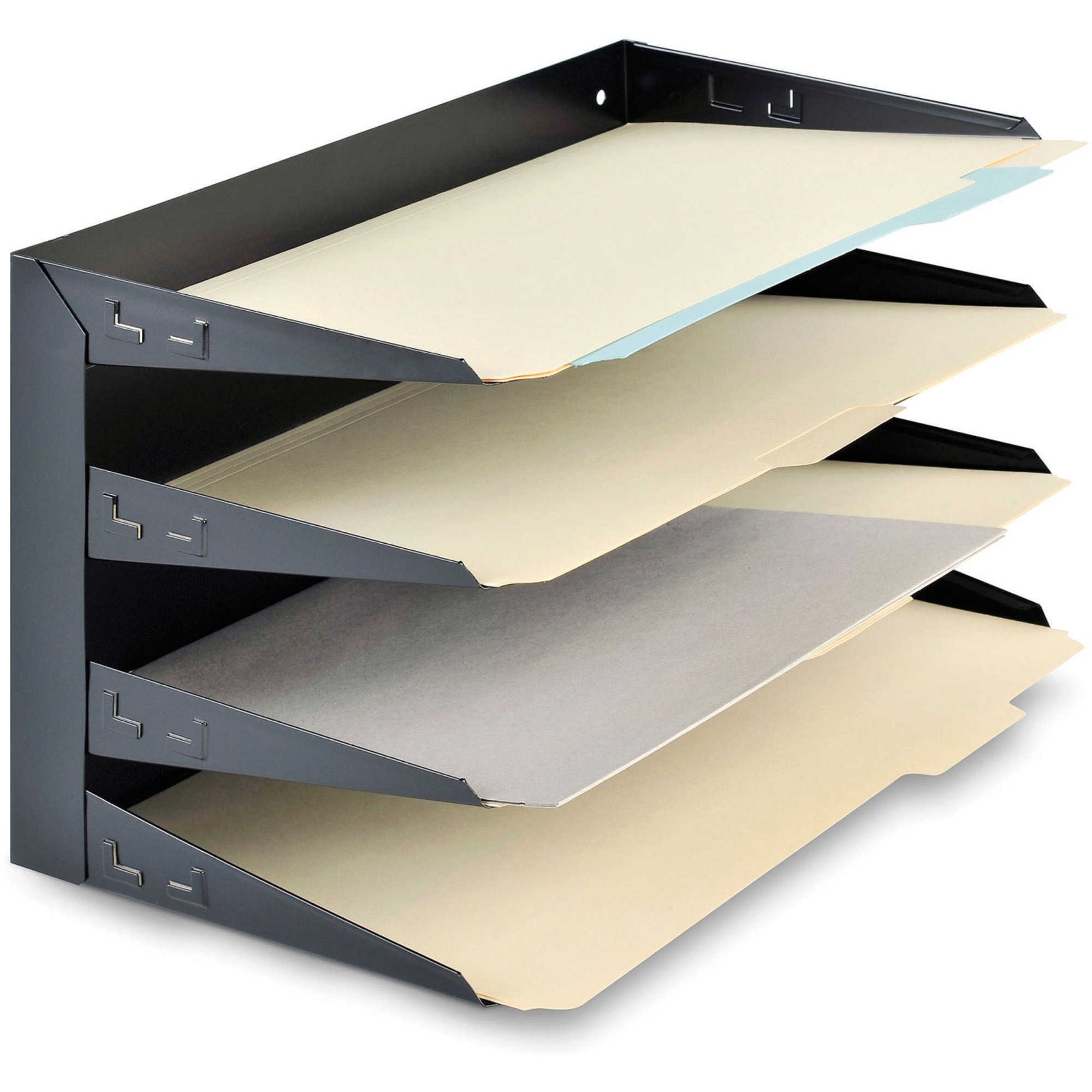 Mmf Horizontal Desk File Trays 4 Compartment S Tier 9 3 Height X 15 Width 8 Depth Desktop Wall Mountable Partition