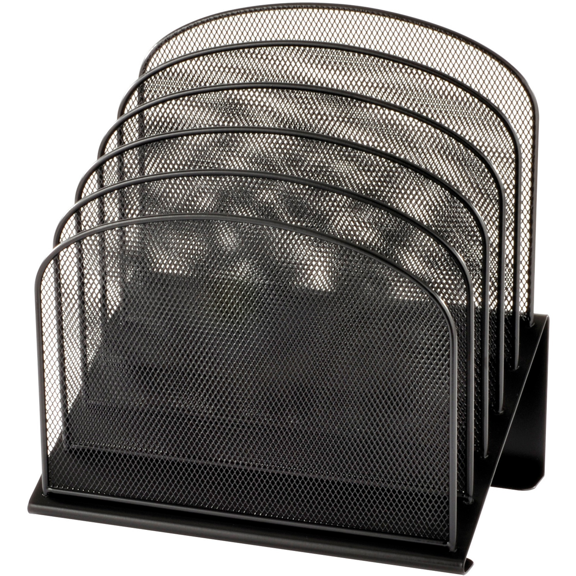 Safco Onyx Wire Mesh Desktop Organizer 5 Compartment S 1 25 40 Mm 12 Height X 11 3 Width 7 Depth Black Steel 1each