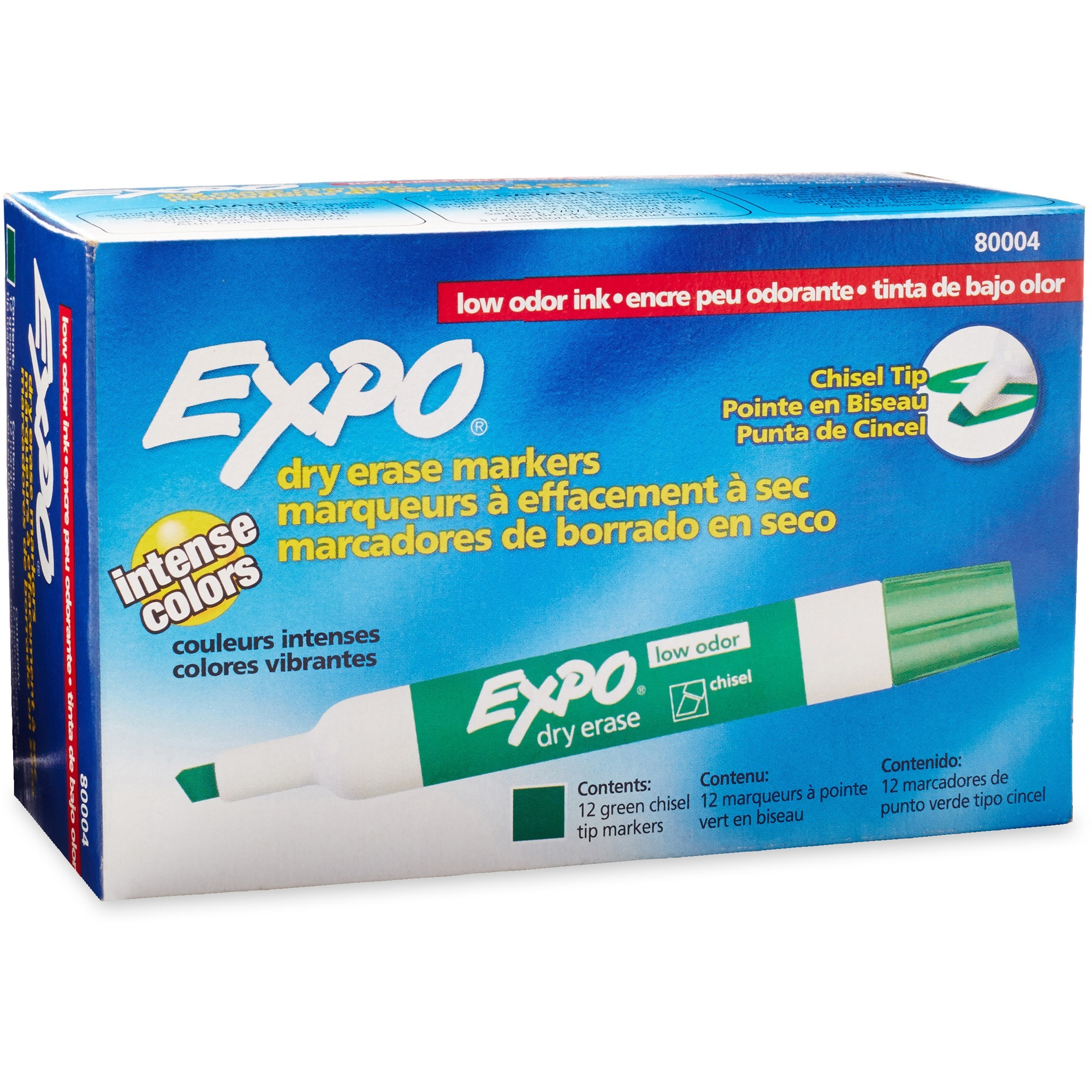 EXPO Large Barrel Dry-Erase Markers - Bold Marker Point - Chisel Marker Point Style - Green - 12 / Dozen