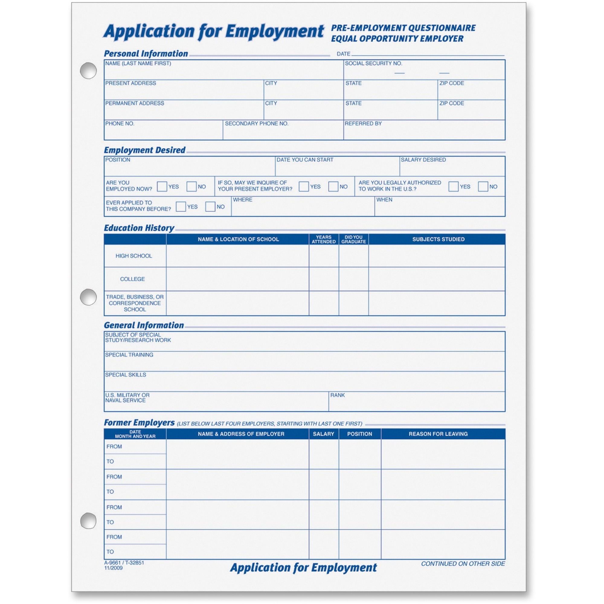personnel forms tops employment application form supplies for personnel forms tops employment application form supplies for the office