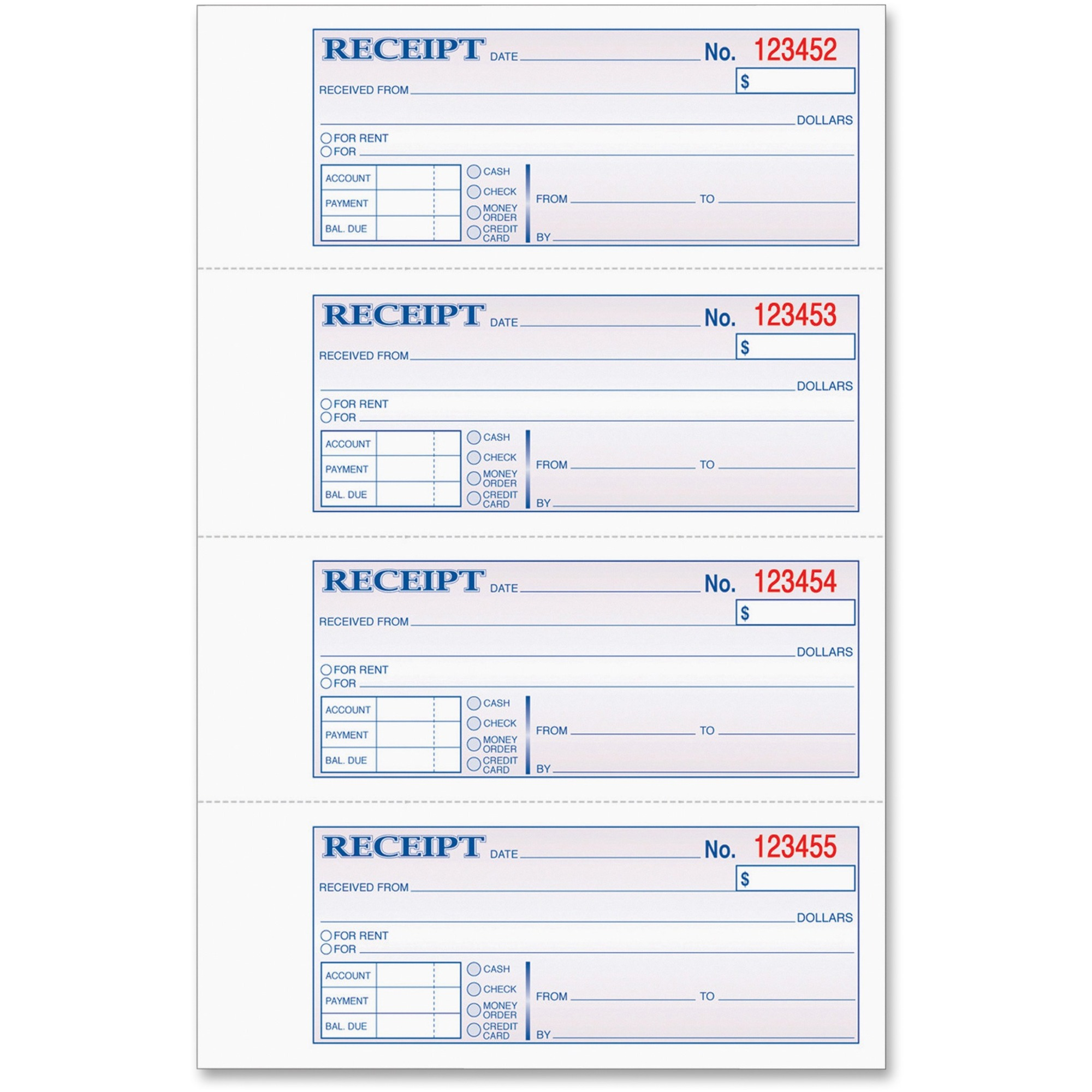 graphic regarding Printable Receipt Book named Tops Solutions Tops Economical/hire Receipt Reserve - 3 Component - Carbonless Reproduction - 2 3/4 X 7 1/4 Sheet Dimension - Varied Sheet(S) - Blue Print Shade - 1 Just about every