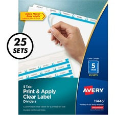 "Avery® Index Maker Print & Apply Dividers - 125 x Divider(s) - Print-on Tab(s) - 5 - 5 Tab(s)/Set - 8.50"" Divider Width x 11"" Divider Length - 3 Hole Punched - White Paper Divider - White Paper Tab(s) - 1"
