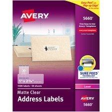 AVE5660 - Avery&reg Matte Clear Easy Peel Address Labels
