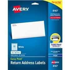 AVE 8167 Avery Easy Peel White Inkjet Mailing Labels AVE8167