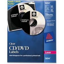 AVE 5694 Avery Laser Printer Clear CD/DVD Labels AVE5694