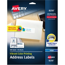 AVE 8250 Avery Matte White Inkjet Printing Mailing Labels AVE8250