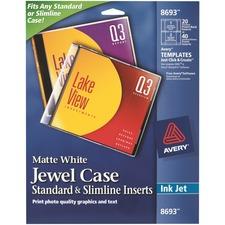 AVE 8693 Avery Ink Jet Matte White Jewel Case Inserts AVE8693