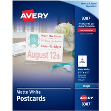 AVE 8387 Avery Perforated Inkjet Printer Postcards AVE8387