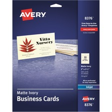 "Avery® Business Card - A8 - 2"" x 3 1/2"" - 0% Recycled Content - Matte - 250 / Pack - Ivory"