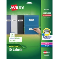AVE 6460 Avery Removable I.D. Laser/Inkjet Labels AVE6460