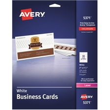 "Avery® Laser Print Business Card - A8 - 2"" x 3 1/2"" - 0% Recycled Content - 250 / Pack - White"