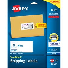 AVE 8163 Avery White Inkjet Shipping Labels AVE8163