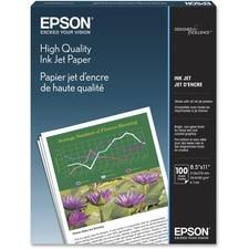 """Epson Inkjet Print Inkjet Paper - Letter - 8 1/2"""" x 11"""" - 24 lb Basis Weight - Matte - 89 Brightness - 100 / Pack - White"""