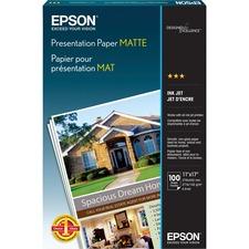 """Epson Inkjet Presentation Paper - White - 90 Brightness - 90% Opacity - Ledger/Tabloid - 11"""" x 17"""" - 27 lb Basis Weight - Matte - 100 / Pack"""