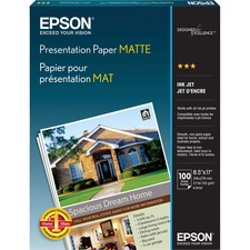 "Epson Presentation Paper - Letter - 8 1/2"" x 11"" - 27 lb Basis Weight - Matte - 90 Brightness - 100 / Pack - White"