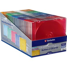 Verbatim CD/DVD Color Slim Jewel Cases, Assorted - 50pk - Jewel Case - Book Fold - Plastic - Blue, Green, Yellow, Purple, Pink - 1 CD/DVD