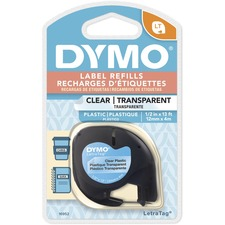 "Dymo Letra Tag Labelmaker Tapes - 1/2"" Width - Direct Thermal - Clear - Plastic"