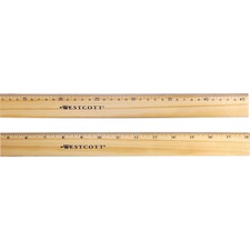 "ACM 05228 Acme Westcott Double Brass Edge 12"" Wood Ruler ACM05228"