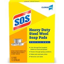 CLO 88320 Clorox S.O.S. Heavy Duty Steel Wool Soap Pads CLO88320