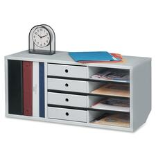 "Fellowes 4 Compartments Desktop Organizer - 13"" x 29\"" x 11.88\"" - 4 Compartment(s) - Particleboard - Dove Gray"