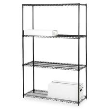 "Lorell Black Industrial Wire Shelving - 4 Tier(s) - 72"" Height x 36"" Width x 18"" Depth - Black - Steel - 1Each"