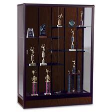 """Balt Elite Freestanding Display Case - 72\"""" x 18\"""" x 66\"""" - Glass, Aluminum - 5 x Shelf(ves) - Security Lock - Glass Door - Walnut"""