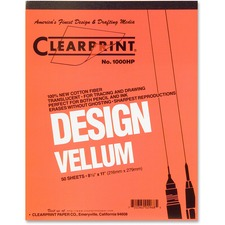 "Clearprint Design Vellum Pad - Letter - 50 Sheets - Plain - 16 lb Basis Weight - 8 1/2"" x 11"" - White Paper - Acid-free, Archival"