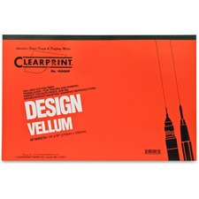 "Clearprint Design Vellum Pad - Tabloid - 50 Sheets - Plain - 16 lb Basis Weight - 11"" x 17"" - White Paper - Acid-free, Archival - 1 / Pad"