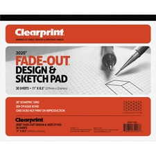 "Clearprint Isometric Grid Paper Pad - Letter - 30 Sheets - 20 lb Basis Weight - 8 1/2"" x 11"" - White Paper - 30 / Pad"